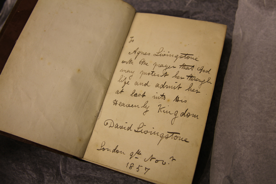 Livingstone's note to his daughter in copy of Missionary Travels
