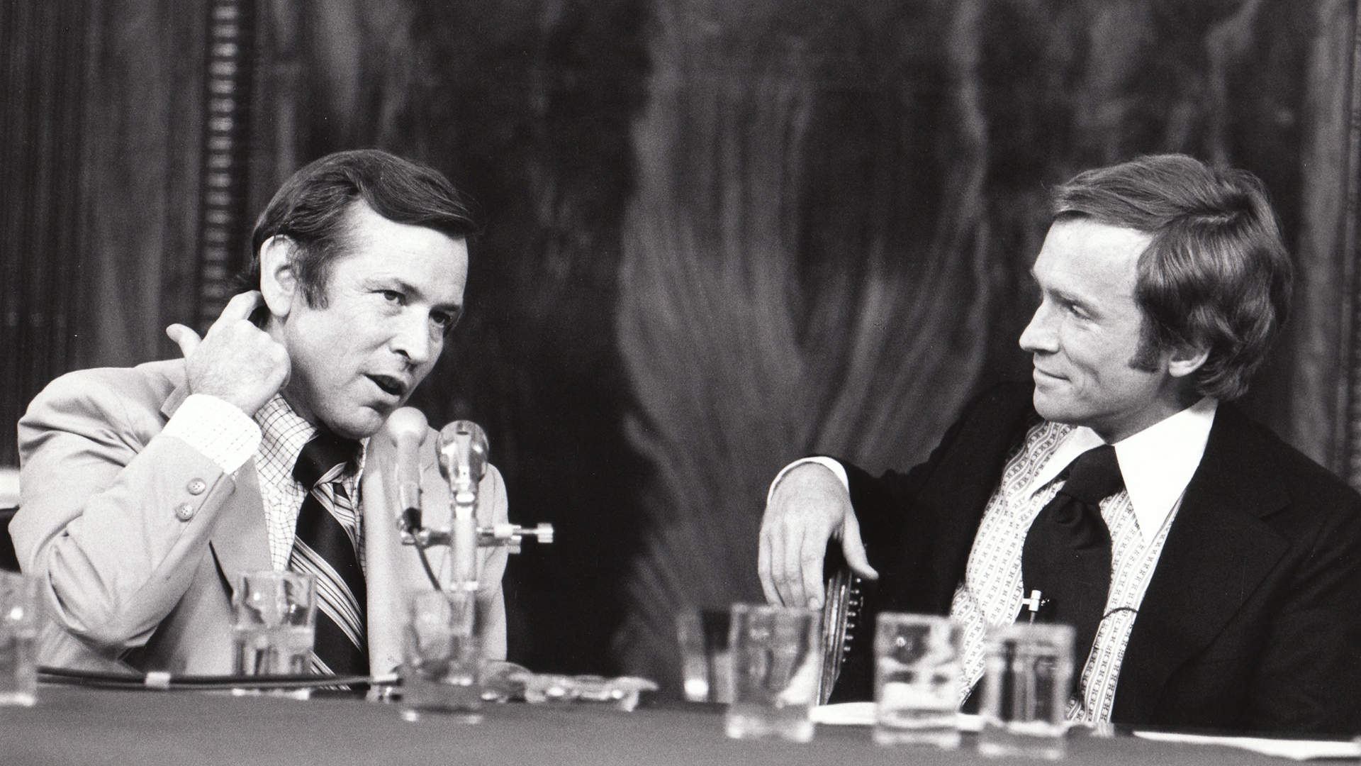 The Dick Cavett Show of 8/1/73 on location from the Senate Watergate Committee hearing room in Washington D.C. Dick is on the right; Committee Vice-Chairman Senator Howard Baker is on the left.