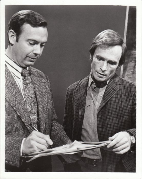 Dick Cavett confers with Christopher Porterfield, producer of The Dick Cavett Show