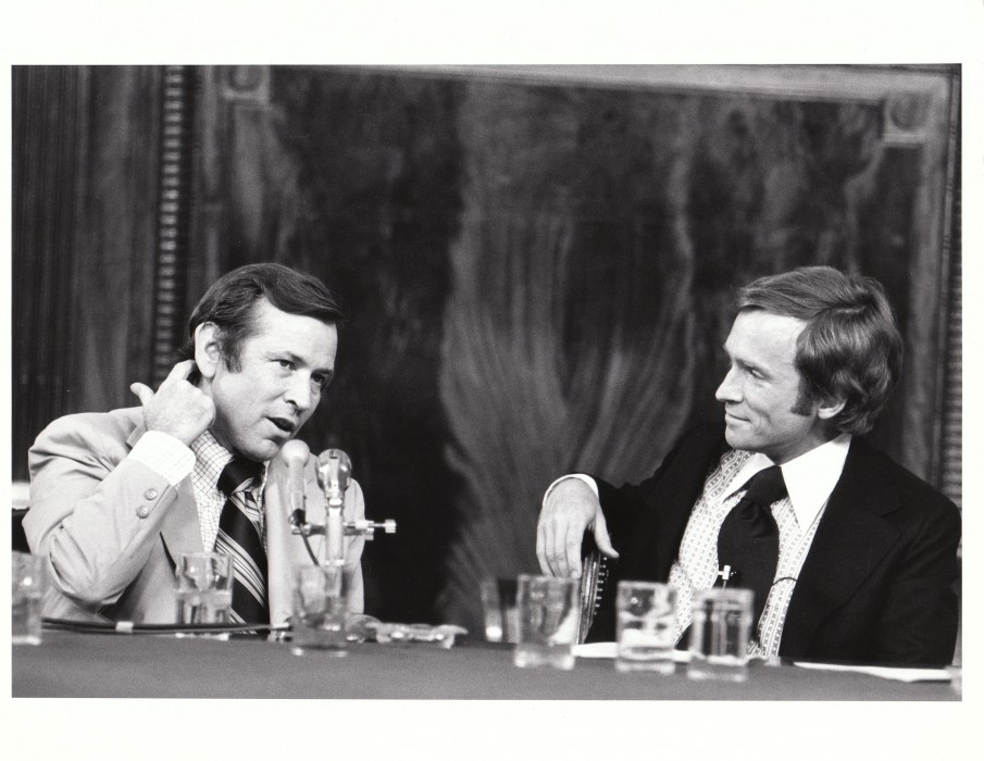The Dick Cavett Show of 8/1/73 on location from the Senate Watergate Committee hearing room in Washington D.C. Dick is on the right; Committee Vice-Chairman ...
