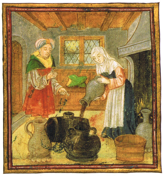 """A matron shows how to treat wine and conserve it properly. British Library, London. Scanned from Maggie Black's """"Den medeltida kokboken"""", Swedish translation of The Medieval Cookbook"""