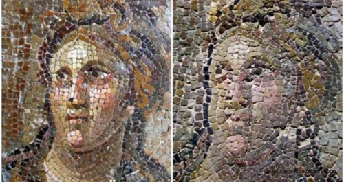 A mosaic before (L) and after (R) restoration, in the Hatay Archaeology Museum, Turkey. Photograph: Hurriyet Daily News