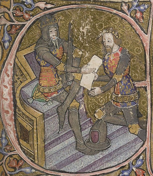 """Edward The Black Prince receives the grant of Aquitaine from his father King Edward III"" Initial letter ""E"" on a page of illuminated manuscript, date: 1390; British Library, shelfmark: Cotton MS Nero D VI, f.31r."
