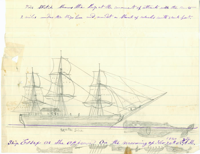 A sketch by Thomas Nickerson depicting the attack and sinking of the ship Essex. Credit: Nantucket Historical Association.