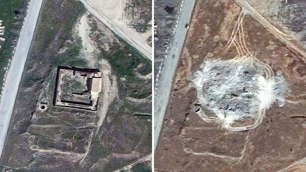 Satellite images showing the site of St Elijah's Monastery in March 2011 and September 2014. DigitalGlobe via AP