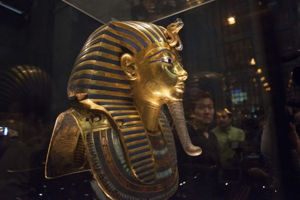 The mask of King Tutankhamun, which was found to have been damaged and glued back together, is seen at the Egyptian Museum in Cairo Jan. 24, 2015. Photo By Shadi Bushra/Reuters