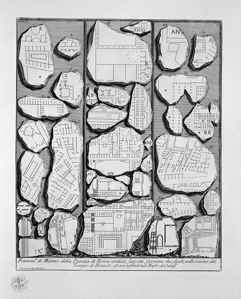 Fragments of the Forma Urbis Romae in an engraving by Giovanni Battista Piranesi, 1756 ( public domain )