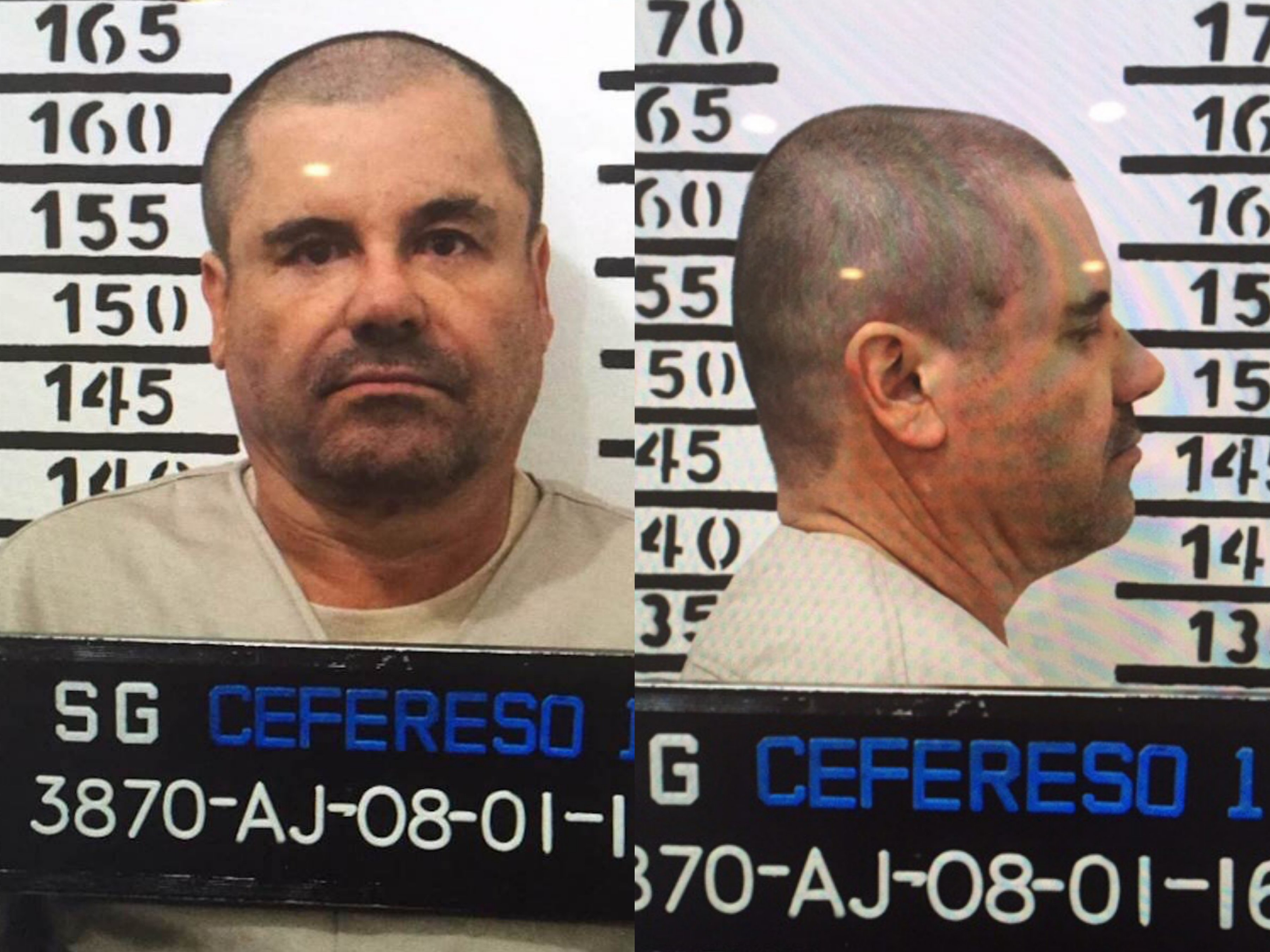 "The official booking photo of Joaquín ""El Chapo"" Guzmán. January, 8, 2016. Mexico's federal government"