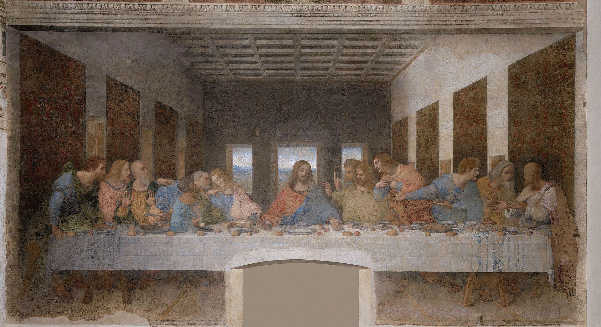 The Last Supper by Leonardo da Vinci, 1495-1498. Photographic reproduction: Copyright 2006-2007 HAL9000 S.r.l.  (Public domain)