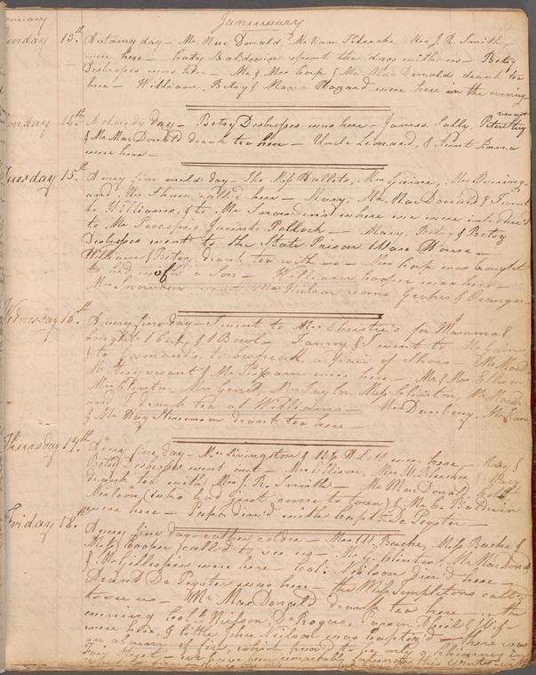Elizabeth De Hart Bleecker diary. NYPL