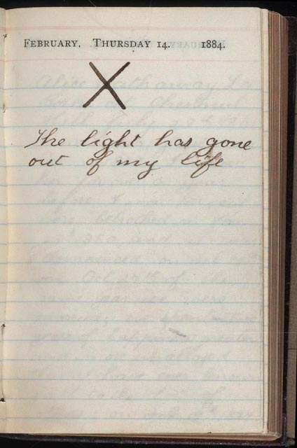 Theodore Roosevelt (1858-1919) Diary entry, February 14, 1884 (Library of Congress )