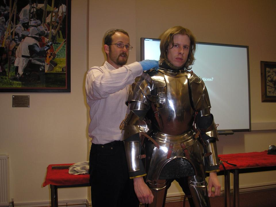Taken by member of audience at one of my arming up talks with Richard Knox (I am wearing some borrowed armour)