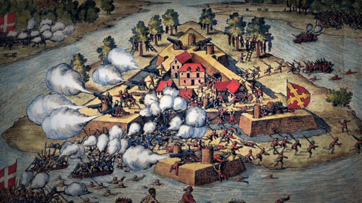 Spanish and French Battle for Florida Fortress