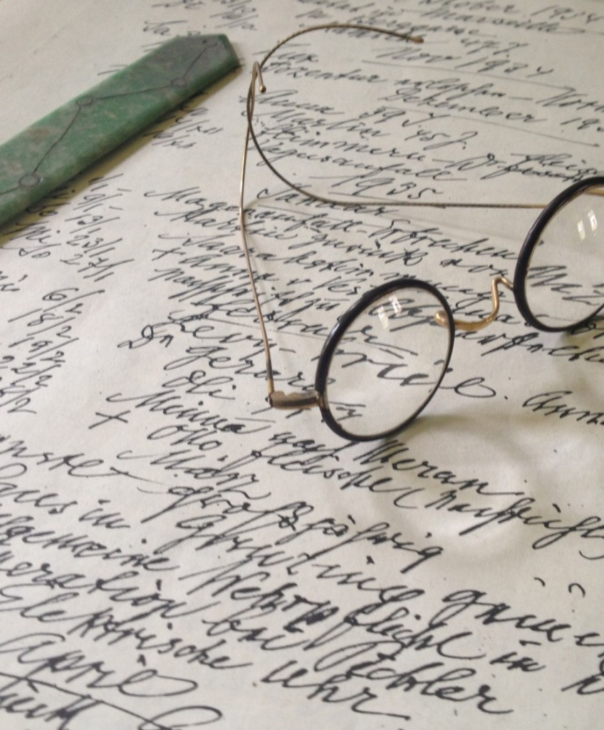 Sigmund Freud's spectacles on his desk at the Freud Museum, London