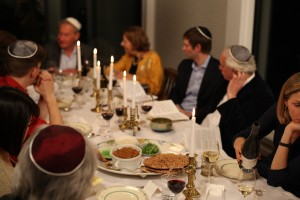 Simon Schama hosts a seder or Passover meal