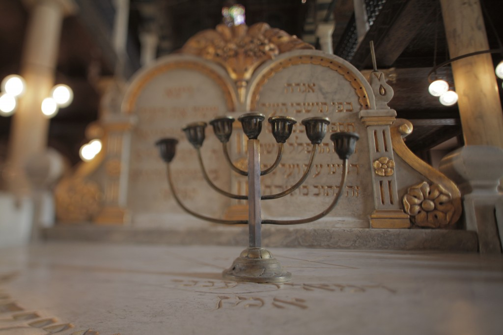 Ben Ezra Synagogue, Cairo, Egypt Menorah (seven-branched candle holder) in foreground