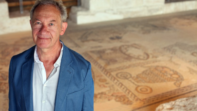 Simon Schama at Sepphoris Synagogue, Tzippori, Israel