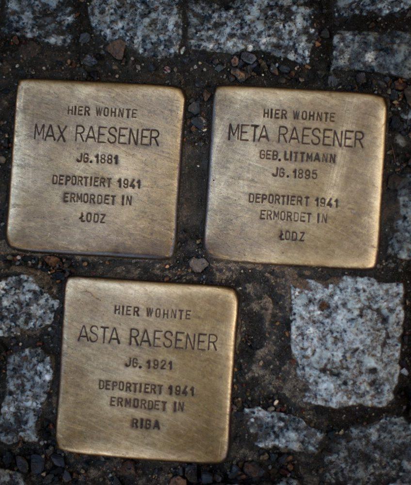 Gold inscribed cobblestones, Berlin, Germany