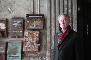 Simon Schama with letter boxes, Eastern Europe
