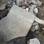 Broken memorials at Chatby Cemetery, Alexandria, Egypt