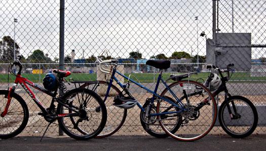 Bikes in the schoolyard