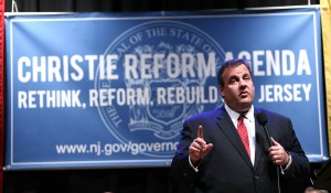 NJ Governor Chris Christie holds a Town Hall Meeting on his Reform Agenda for the state in Moorestown, NJ.