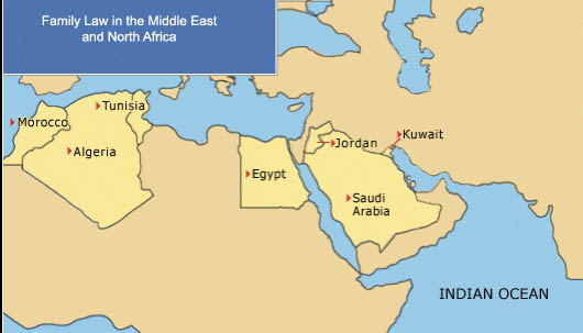 Family Law in the Middle East and North Africa  Map  Wide Angle