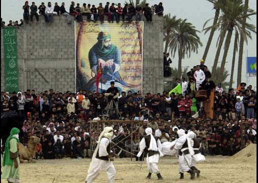 A reenactment of the Battle of Karbala takes place during the city's 2007 celebration of Ashura