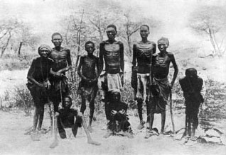 Herero returning starved from the desert; two women are unable to stand.