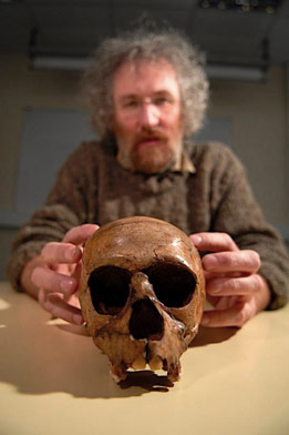 Neanderthal skull, held by Belgian archeologist Michel Toussaint