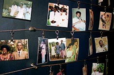 Photos of genocide victims.